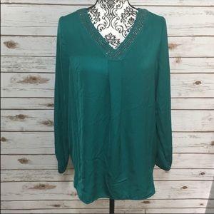 Apt. 9 Green Jeweled Long Sleeve Shirt Dress